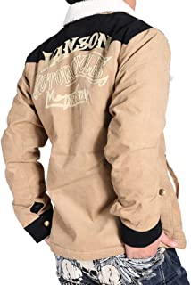 (バンソン) VANSON ロゴチェーン刺繍 コーデュロイ ボア ランチジャケット シリアルナンバー入り NVJK-807-CAMEL