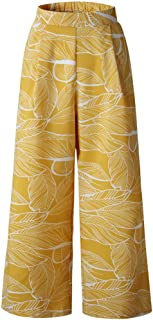 Qootent Women Beach Pants Leaves Printing Ankle Trousers Casual Wide Leg Pants