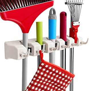 Mop and Broom Holder, Imillet Wall Mounted Organizer-Mop and Broom Storage Tool Rack with 5 Ball Slots and 6 Hooks (Gray) (One Pack)