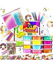 Fluffy Slime Kit de 12 Colores Crystal Slime con 10 Botellas de Brillantina para Niñas , Juguetes para Niños 4 Piezas de Juguete de Fruta para niños Mayores de 6+ años