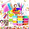 Make Your Own Slime! Kit W/ Containers & Lids, Clay, Foam Beads, Glue, Glitter Powders with Accessories! Recipes for Making Color and Different Types of Slime How to Make Slime Recipes Included 1