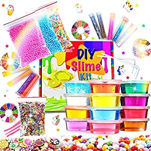 Crystal Slime Kit for Girls Slime Supplies for Kids Crystal Slime Party Gift for Kids Include Glitter Jars,Foam Beads…