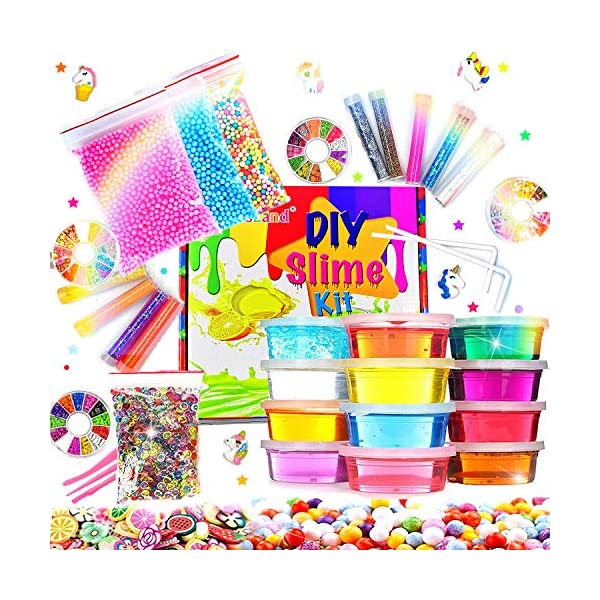 Slime Kit for Girls Boys,Slime for Kids Unicorn Sime Kit-12 Slime,10 Slime Glitters,4 Slime Charms,Slime Supplies for… 3