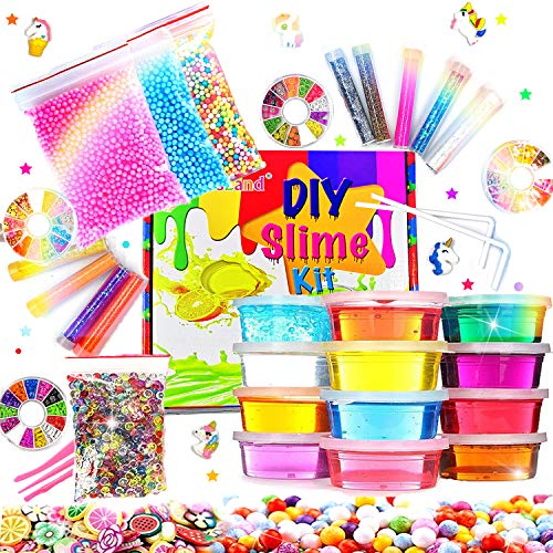 Image of the Crystal Slime Kit Slime Supplies for Girls Boys Clear Slime for Kids with Glitter Jar Foam Bead and Unicorn Toys for Slime Making kit Aged 6+