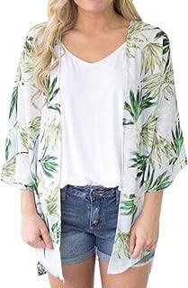 Women Chiffon Loose Shawl Print Kimono Cardigan Top Cover Up Blouse Beachwear