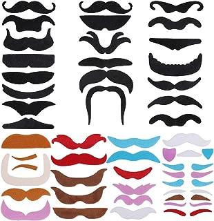 Faburo 80pcs Fake Mustaches Beard Eyebrow Self Adhesive Face Mustache Sticker Facial Hair
