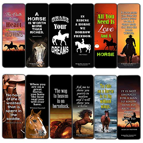 Creanoso Inspiring Inspirational Reading Quotes Horse Bookmarks Series 2 (60-Pack) – Six Assorted Horse Quotes Bookmarks Bulk Set – Premium Horse Gifts for Men Women Teens Kids