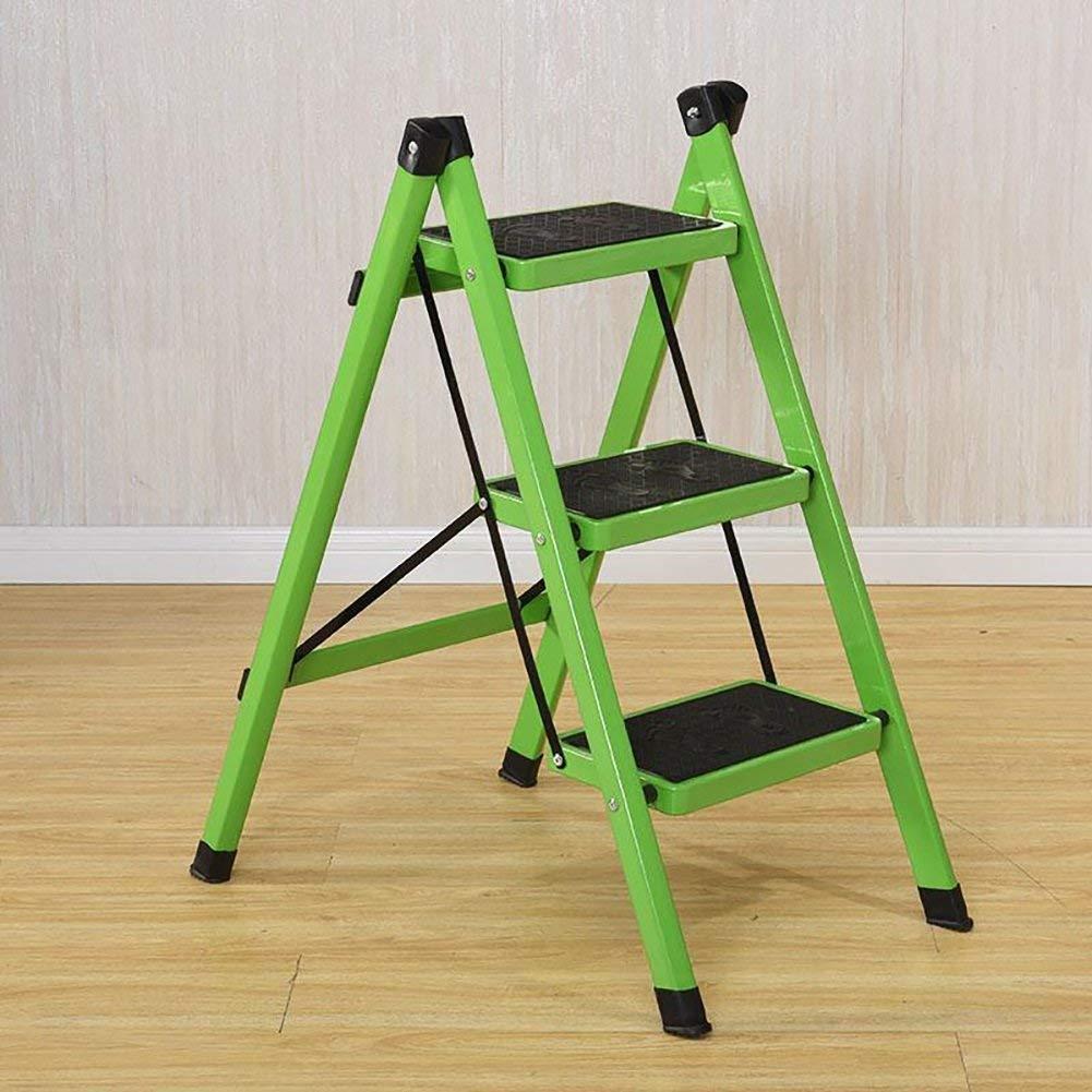 XITER-Taburete Escalera, Taburetes para escalones Taburete de escaleras de 3 Niveles Escalera Plegable de Interior Hierro Cocina pequeña Taburete Plegable con Escalera Antideslizante (Color : Green): Amazon.es: Hogar