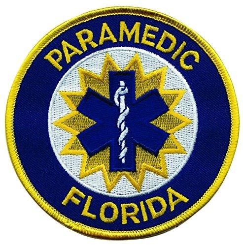 FLORIDA PARAMEDIC Shoulder Patch, Star of Life, Medium Gold Border, 4' Circle, Florida State, FL emt ems emergency patch badge logo costume paramedic nurse - Sold by UNIFORM WORLD
