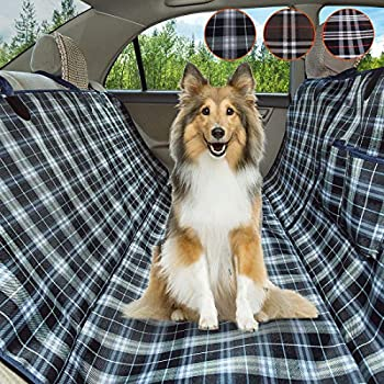 Coohom Dog Car Seat Covers,Waterproof Scratch Proof Nonslip Protector Pet Back Seat Covers,Scottish Grid Pattern Hammock Convertible for Cars Trucks and Suvs  Darkblue