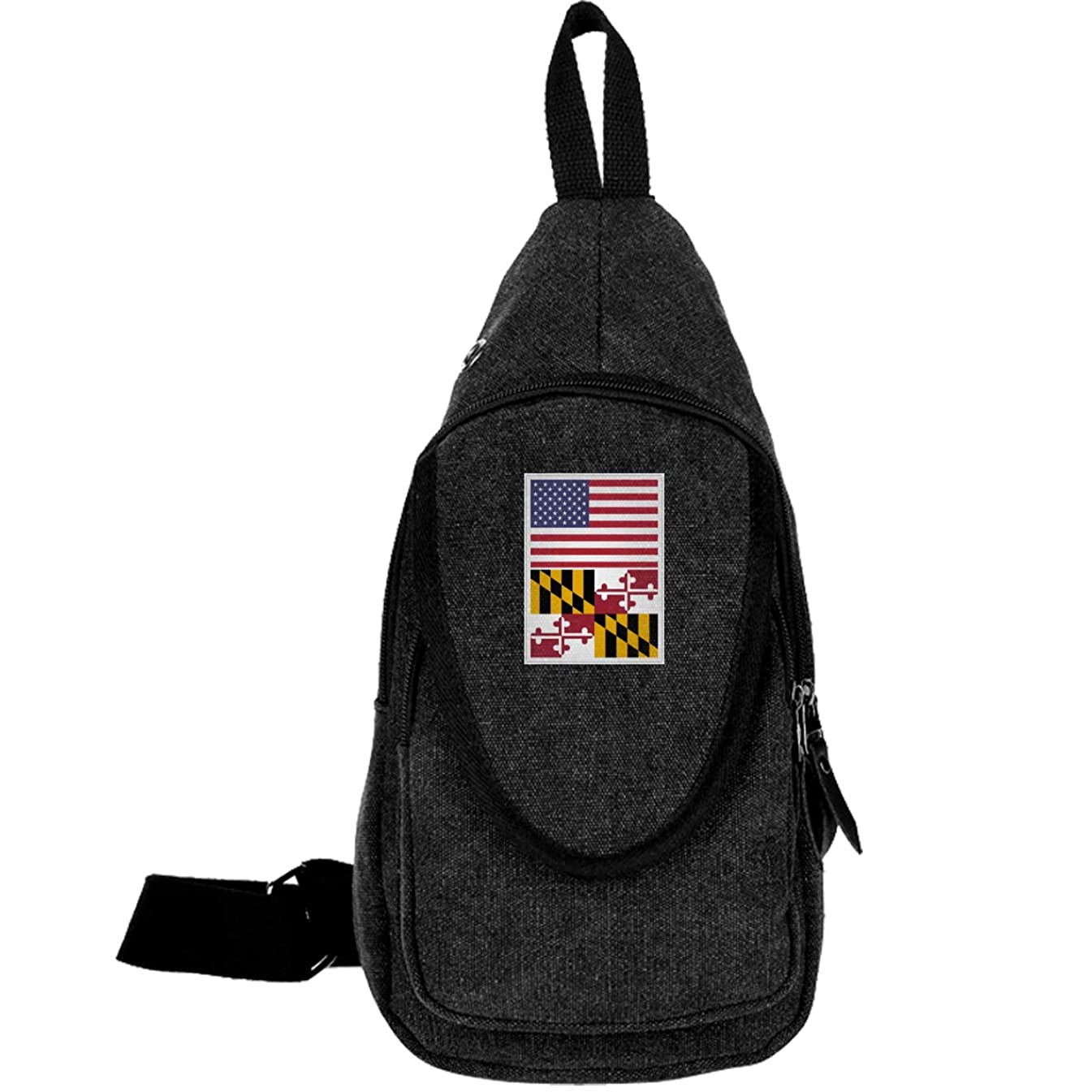 American Flag And Maryland Flag Daypack For Men Women Crossbody Bag Hiking
