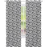 Cortinas opacas con aislamiento térmico, diseño de Mohawk antiguo tatuaje con estampado geométrico de bordes blancos, 52 x 95 cm de ancho para comedor, color blanco y verde militar