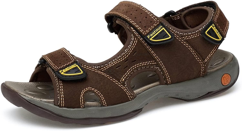 Atmungsaktive Strand-Sandalen aus echtem Leder für Herren Rutschfeste, weiche, Flache Sommer-Outdoor-Schuhe mit DREI Klettverschlüssen