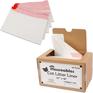"""Houseables Litter Box Liners, Cat Pan Bags, 30 Pack, 37""""x 18"""", Unscented, Jumbo Size with Drawstrings, Holder, Kitty Waste Supplies, Extra Thick, Tear Resistant, Disposable, for Travel, Easy Cleanup"""