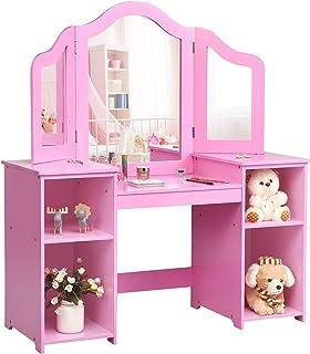 COSTWAY Kinder Kaptafel, Kaptafel voor Kinderen, Prinses Make-up Tafel Kaptafel met 4 Grote Opbergplanken en 3-Paneel Spie...