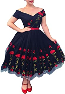 Aofur Women's Vintage 1950's Floral Spring Rose Print Rockabilly Swing Prom Party Cocktail Dress