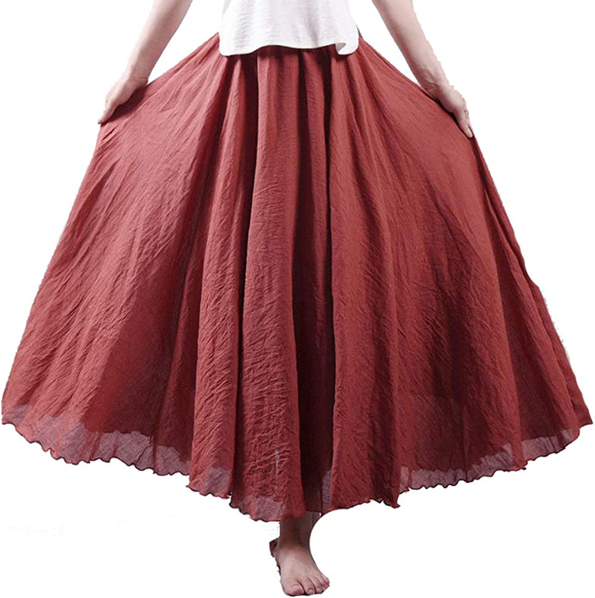 Women's Elegant High Waist Linen Maxi Skirt Summer Ladies Casual Elastic Waist 2 Layers Skirts