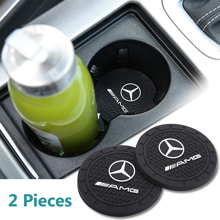 Yuanxi Electronics AMG Cup Holder,2 Pcs 2.75 inch Car Interior Accessories Anti Slip Cup Mat for Mercedes-Benz S Serie,E Serie,C Serie,W Series,A Series,etc All Models