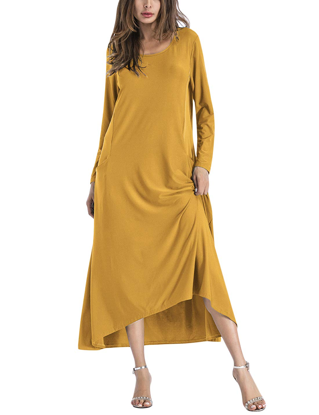 Available at Amazon: Tanming Women's Spring Casual Round Neck Long Sleeve Flared Big Swing Maxi Dress