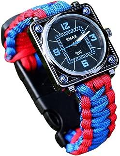 XGUMAOI Outdoor Survival Kit Paracord Wrist Watches Compass Flint Whistle Bushcraft Gear (Multicolor)