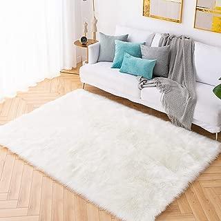 Carvapet Shaggy Soft Faux Sheepskin Fur Area Rugs Floor Mat Luxury Bedside Carpet for Bedroom Living Room, 4ft x 6ft,White
