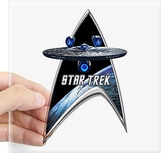 CafePress StarTrek Command Silver Signia Enterprise JJA01 St Square Bumper Sticker Car Decal, 3