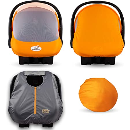 Cozy Combo Pack (Orange Mango) – Sun & Bug Cover Plus a Lightweight Summer Cozy Cover - Trusted by Over 6 Million Moms Worldwide – Protects Your Baby from Mosquitos, Insects, The Sun, Wind