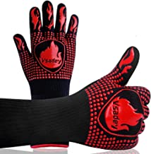 Vsadey BBQ Gloves 1472℉ Extreme Heat Resistant Grill Gloves 14 Inch, Food Grade Kitchen Oven Mitts, Silicone Non-Slip Cooking Gloves for Barbecue, Baking, Cooking, Welding, Cutting