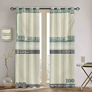 Money Room Darkened Curtain Hundred Dollar Bill Century Note Design American Currency Style Frame Pattern for Bedroom- Kindergarten- Living Room W108 x L72 inch Pale Green Grey