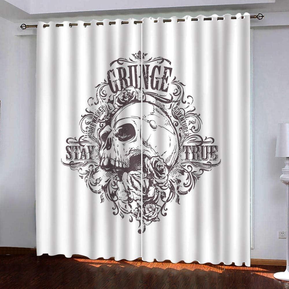 Thermal Alternative Selling dealer Insulated Grommet Curtains,Black T Skull Window for