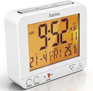 "Hama Réveil radiopiloté ""RC 550"", avec fonction veilleuse, blanc"