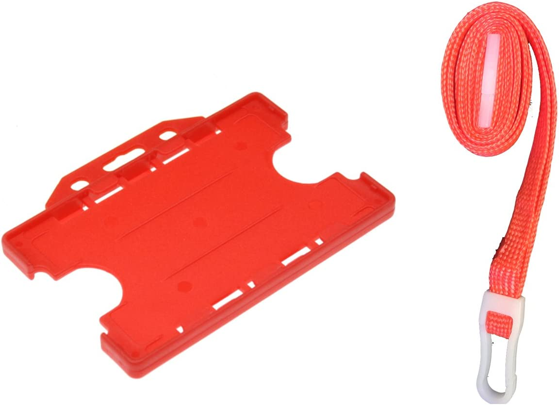 ID Card overseas It Badge Holder Max 84% OFF Red Safety Lanyard Mat and Neck Strap