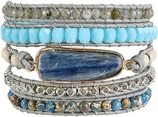 Handmade Natural Regalite Jasper Stone 5 Strands Wraps Boho Statement Women Bracelet Collection