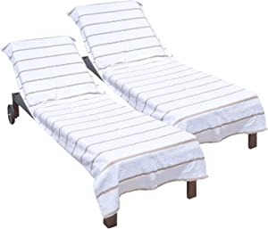 Arkwright Pool Chair Covers (Oversized:30x85 Inch, 2-Pack), Cotton Chaise Lounge Cover with 8 Inch Deep Pocket to Fit Any Beach Chair (Beige)