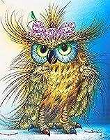 5Dダイヤモンドモザイクフクロウ針仕事DIYフルセットダイヤモンド刺繡ラインストーンの家の装飾の動物の写真