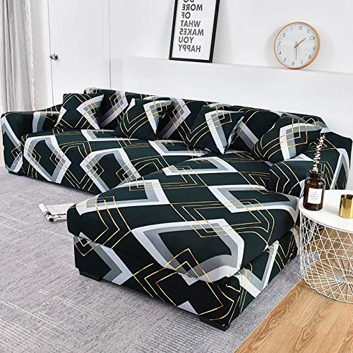 WXQY Elastic lattice sofa cover L type need to order 2 pieces of sofa cover, elastic all-inclusive dustproof sofa cover A14 4 seater
