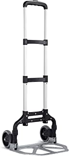 Goplus Folding Hand Truck and Dolly, 176 Lb Capacity Heavy-Duty Luggage Trolley Cart with Telescoping Handle and Rubber Wheels for Travel, Shopping or Industrial