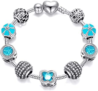 Butterfly-shaped Crystal Beads Silver Plated Charm Bracelet for Women Girls - Birthday Valentines Gift