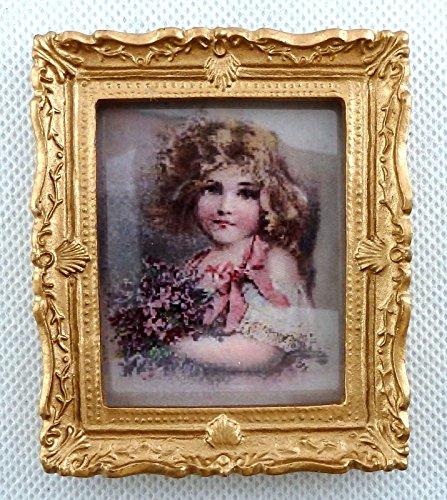 Melody Jane Casa de Muñecas Victoriana Pequeños Girl Cuadro Cuadro Marco Dorado Accesorios Miniatura
