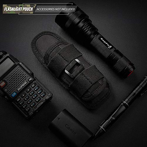 WYNEX Tactical Flashlight Pouch Holster, Rotatable Flashlight Holder Belt Clip Tactical Torch Carry Case with 360 Degree Carabiner Reel Clip