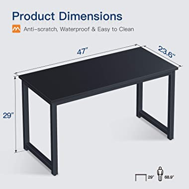 Super Sturdy Gaming Computer Desk 47 inch Modern Office Desk Study Writing Desk for Home Office, Coleshome, Black