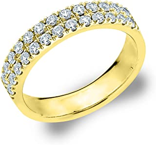 .50 CT Double Row Lab Grown Diamond Ring in 14K Gold, Sparkling in E-F Color and VS Clarity