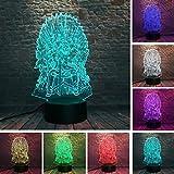 Trono Canción de hielo y fuego 3D 7 Color cambiante Luz de noche LED Luz de noche Luz de emoción Regalo de niño de hombre