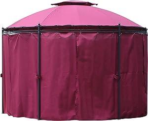 Outsunny Tonnelle pavillon de Jardin Rond dim. Ø 3,5L x 2,75H m Double Toit 6 Rideaux latéraux Polyester métal époxy Noir (350x350x275cm, Rouge)