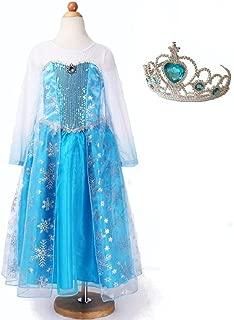 【コスプレ】アナと雪の女王 エルサ 子供用ドレス ティアラセット 110cm