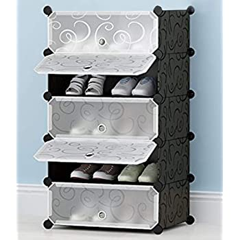 Aysis DIY Shoe Rack Organizer/Multi-Purpose Plastic 5 Layers Portable and Folding Shoe Rack (Black)