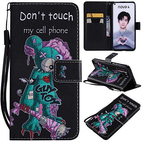 nancencen Kompatibel mit Handyhülle Huawei Nova 4 Hülle, Painted Individuellkeit PU Leder Tasche Schutzhülle Hülle [Don't Touch My Cell Phone]