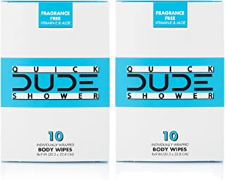 DUDE Shower Body Wipes Wet Wipes Individually Wrapped for Travel Unscented Naturally Soothing Aloe and Hypoallergenic (2 Packs 20 Wipes)