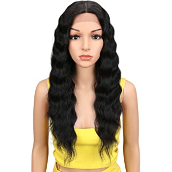 """Joedir Lace Front Wigs 24"""" Long Wavy Synthetic Wigs For Black Women 130% Density Heat Resistant Synthetic Hair Wig(NATURAL BLACK)"""