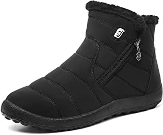 L-RUN Womens Mens Snow Boots Fur Lined Winter Snow Booties Outdoor Footwear